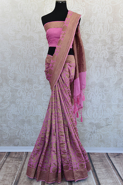 Pink Tissue silk saree with banarasi weave all over. Pretty modern saree with traditional weaving ideal for Indian wedding events.-Full view