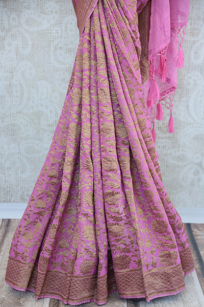 Pink Tissue silk saree with banarasi weave all over. Pretty modern saree with traditional weaving ideal for Indian wedding events.-pleats