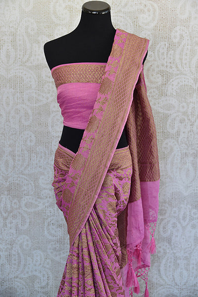 Pink Tissue silk saree with banarasi weave all over. Pretty modern saree with traditional weaving ideal for Indian wedding events.-top view