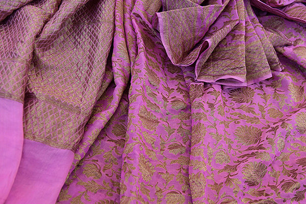 Pink Tissue silk saree with banarasi weave all over. Pretty modern saree with traditional weaving ideal for Indian wedding events.-close up