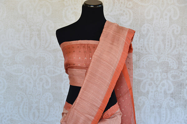 Peach orange matka silk saree with the hue of pink color. Classic and ethnic saree perfect for Indian events.-Pallu