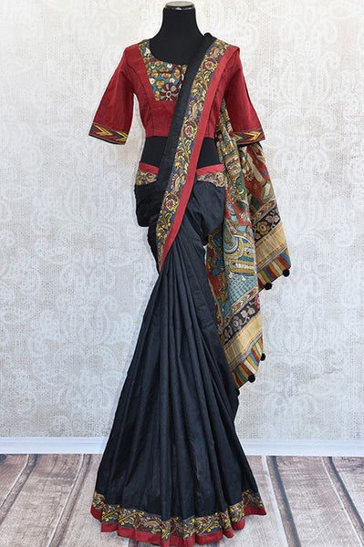 Pure Elegance concept designer raw silk saree with kalamkari border, pallu and comes with designer blouse . Party perfect saree. -Full view