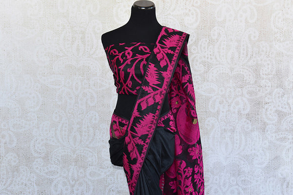 Pure Elegance concept designer black raw silk dhakai saree with beautiful blouse piece.Perfect saree for Indian parties.-pallu