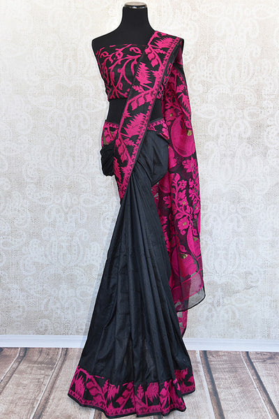 Pure Elegance concept designer black raw silk dhakai saree with beautiful blouse piece.Perfect saree for Indian parties.-Full view