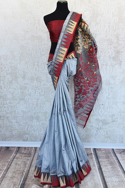 Pure Elegance concept designer grey raw silk dhakai saree with maroon blouse piece.Traditionally perfect silk saree for Indian evening parties.-Full View