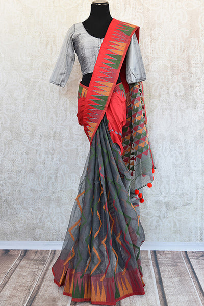 Pure Elegance concept designer raw silk dhakai saree and designer raw silk blouse available in store and online in USA.Perfect saree for Indian casual parties.-Full view