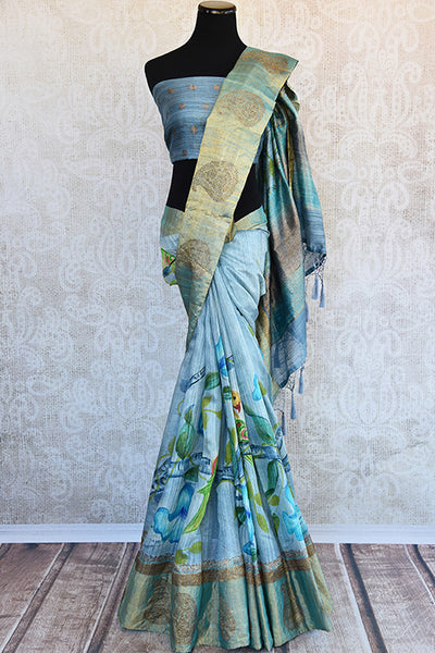 Buy blue matka banarasi saree with banarasi weaved buta on border and pallu . Birds floral prints makes it perfect for spring parties.-Full View