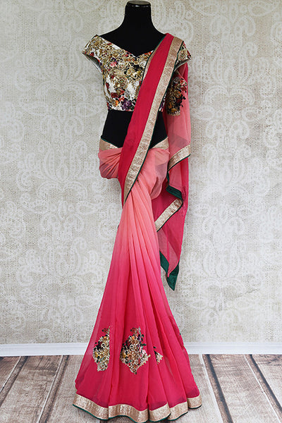 Shaded pink saree with designer pre stitched blouse and applique work. Perfect party wear.-full view