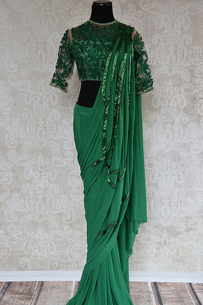 Buy this gorgeous green concept Indian saree with sequin embroidered designer  ready made blouse from Pure Elegance store, NJ. Great choice for cocktail parties-Full View