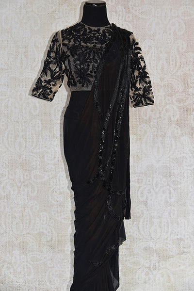 Buy this classy black concept Indian saree with designer sequin embroidered ready made blouse from Pure Elegance store, NJ. Great choice for cocktail parties-Full View
