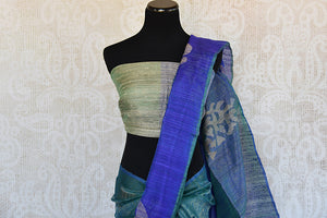 Buy this stunning green and blue two toned matka silk Indian saree with printed design in pallu and border from Pure Elegance store. Great for formal evenings-Pallu and Border