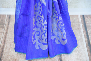 Buy this stunning green and blue two toned matka silk Indian saree with printed design in pallu and border from Pure Elegance store. Great for formal evenings-Printed Design