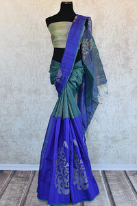 Buy this stunning green and blue two toned matka silk Indian saree with printed design in pallu and border from Pure Elegance store. Great for formal evenings.-Full View