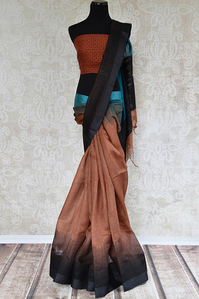 Brown and black shaded linen saree. Ideal elegant sari for summers and in Indian casual occasion.-full view
