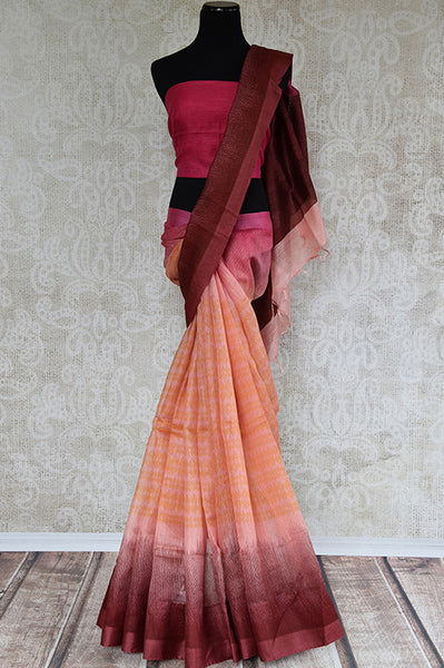 Brown and pink shaded linen saree . Perfect elegant saree for summers and ideal for Indian casual occasion.-full view