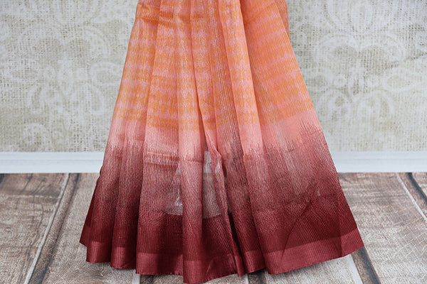 Brown and pink shaded linen saree . Perfect elegant saree for summers and ideal for Indian casual occasion.-pleats