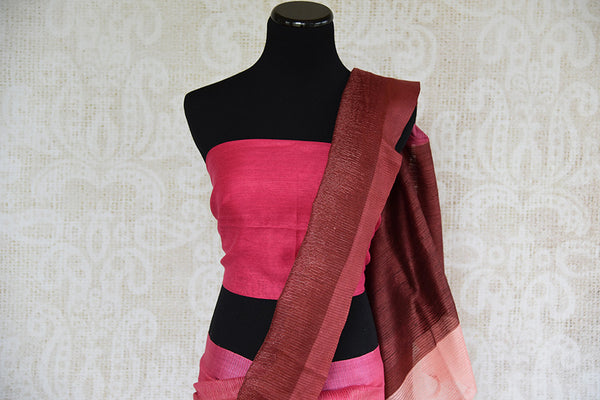 Brown and pink shaded linen saree . Perfect elegant saree for summers and ideal for Indian casual occasion.-pallu
