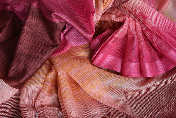 Brown and pink shaded linen saree . Perfect elegant saree for summers and ideal for Indian casual occasion.-close up