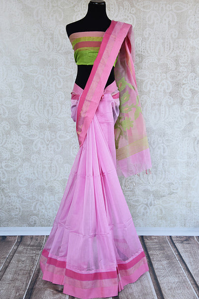 Classic pink matka silk saree with the hue of green. Perfect saree for pujas and in casual gatherings.-Full view