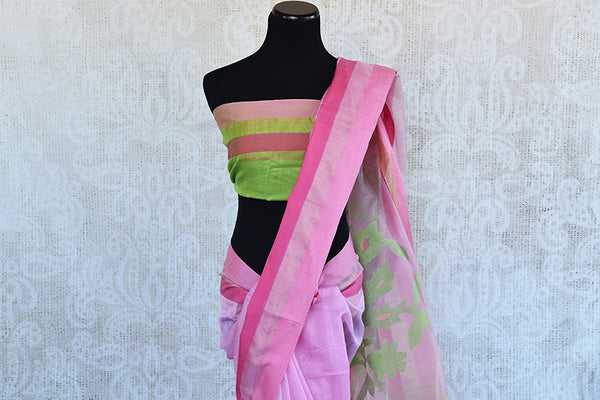 Classic pink matka silk saree with the hue of green. Perfect saree for pujas and in casual gatherings.-pallu and blouse