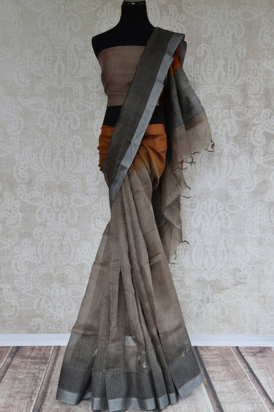 Brown and grey shaded linen saree. Perfect elegant sari for summers and in Indian casual occasion-Full view