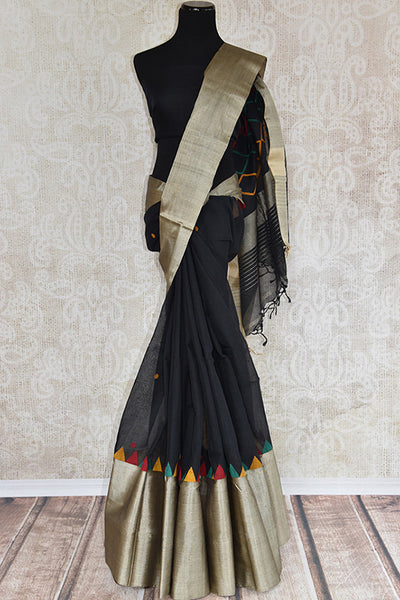 Woven black cotton dhakai sari with thick silver border and geometric pattern in pallu and black blouse. perfect for traditional wear, party and festive occasion - front view