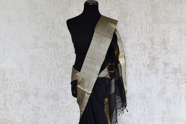Woven black cotton dhakai sari with thick silver border and geometric pattern in pallu and black blouse. perfect for traditional wear, party and festive occasion - pallu close up