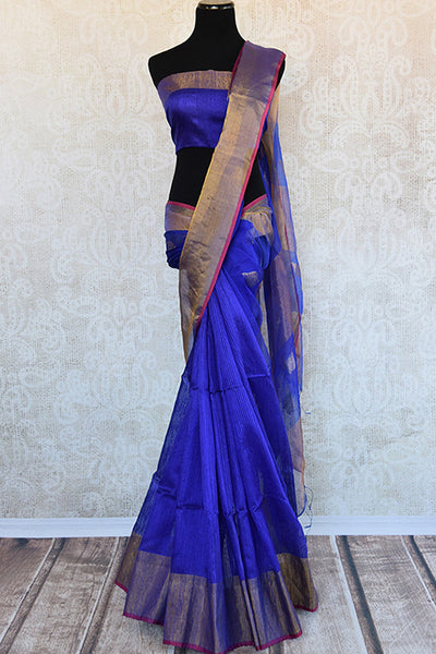 Buy this radiant blue matka silk Indian saree with gold pallu and border from Pure Elegance store, NJ. Blue silk blouse piece is included. Great for festivals-Full View