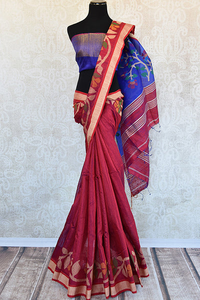 Buy this beautiful red matka silk Indian saree with blue silk pallu and printed floral design in pallu and border from Pure Elegance online. Great for festivals-Full View