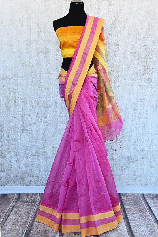 Classic combination of pink and yellow matka silk saree. Good addition for your Indian wardrobe for festivals.- full view