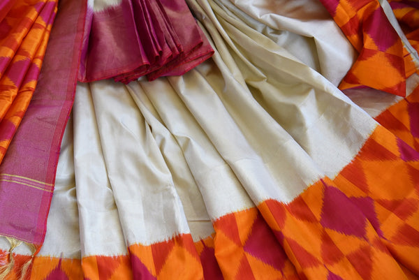Buy Cream Woven silk saree online in USA. Beautiful Ikat sarees in ethnic designs for Indian women. Ikkat sarees online in a variety of styles for every occasion.-details