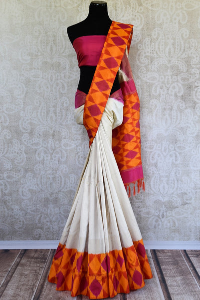 Buy Cream Woven silk saree online in USA. Beautiful Ikat sarees in ethnic designs for Indian women. Ikkat sarees online in a variety of styles for every occasion.-full view