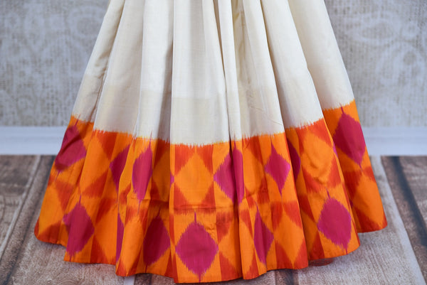 Buy Cream Woven silk saree online in USA. Beautiful Ikat sarees in ethnic designs for Indian women. Ikkat sarees online in a variety of styles for every occasion.-pleats
