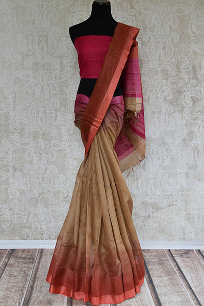 Brown and brick red shaded linen saree. Perfect elegant sari for summers and in Indian casual occasion-full view