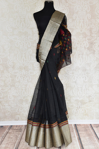 Buy black cotton saree online in USA at Pure Elegance. Shop from a range of exclusive Indian designer sarees in USA available at our online store or visit our fashion store in USA.- front view