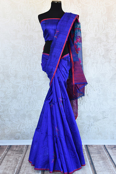 Buy this lovely blue matka silk Indian saree with printed floral designs from Pure Elegance store. Unstitched blue silk blouse is included. Great for festivals-Full View