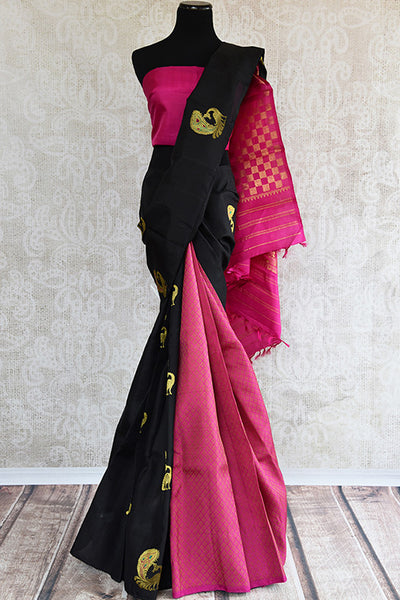 Black and pink kanjivaram silk saree with mayor buta.Traditional Indian sari with modern look of two colors. -full view
