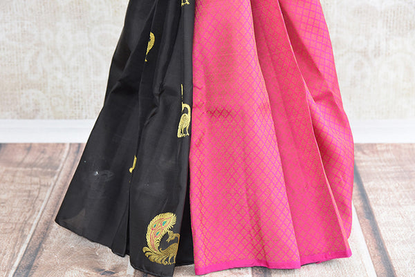 Black and pink kanjivaram silk saree with mayor buta.Traditional Indian sari with modern look of two colors. -pleats