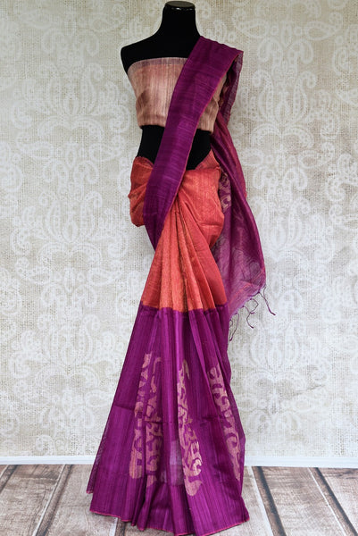 Buy purple and orange Matka Zari Sari online from Pure Elegance or visit our store in USA. Shop your favorite from a fine range of Indian silk saris online.-full view