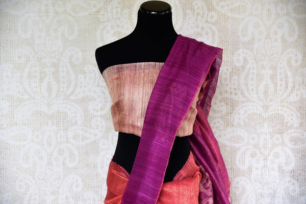 Buy purple and orange Matka Zari Sari online from Pure Elegance or visit our store in USA. Shop your favorite from a fine range of Indian silk saris online.-pallu