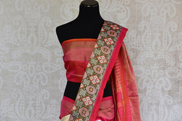 Elegant white ikkat silk saree with red ikkat border and pallu. perfect for Indian festive events.-pallu