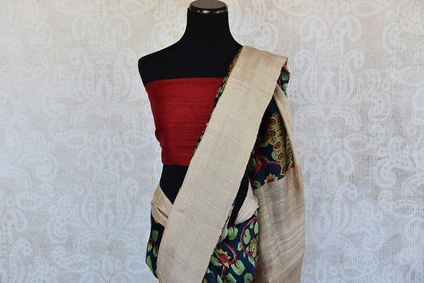 Printed matka silk saree with beautiful leafy green and maroon print. Perfect casual sari for Indian events.-pallu