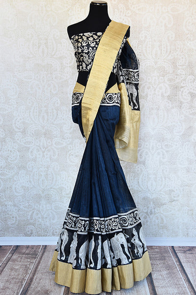 Blue and black matka silk saree with gold border. Stylish collection for Indian wardrobe.-full view