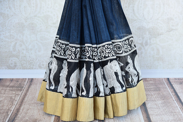Blue and black matka silk saree with gold border. Stylish collection for Indian wardrobe.-print