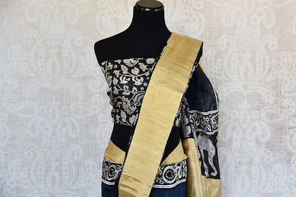 Blue and black matka silk saree with gold border. Stylish collection for Indian wardrobe.-border with printed blouse