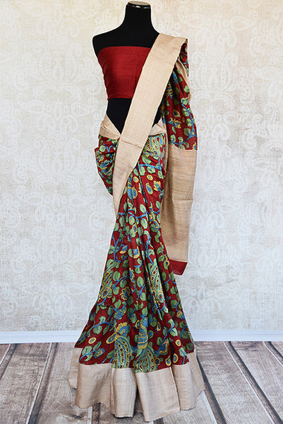 Printed matka silk saree with beautiful leafy green and maroon print. Perfect casual sari for Indian events.-full view