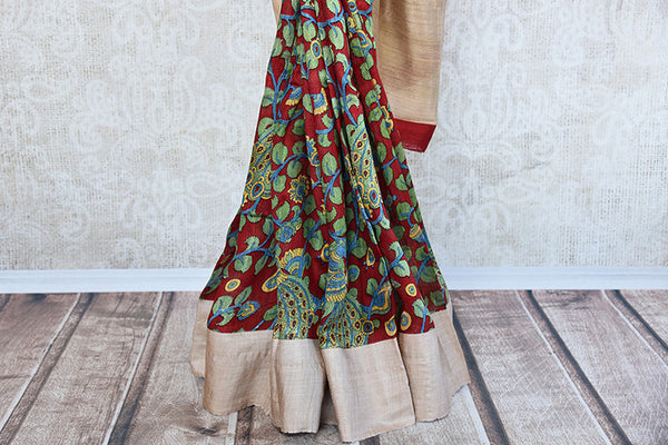 Printed matka silk saree with beautiful leafy green and maroon print. Perfect casual sari for Indian events.-pleats