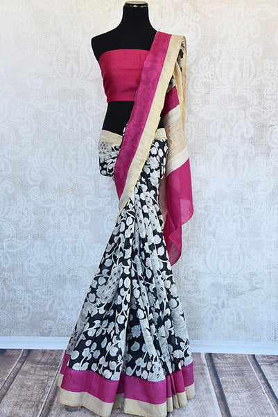Buy this classy black linen Indian saree with white printed floral design and pink gold pallu from Pure Elegance store with pink linen blouse. Great for parties-Full View
