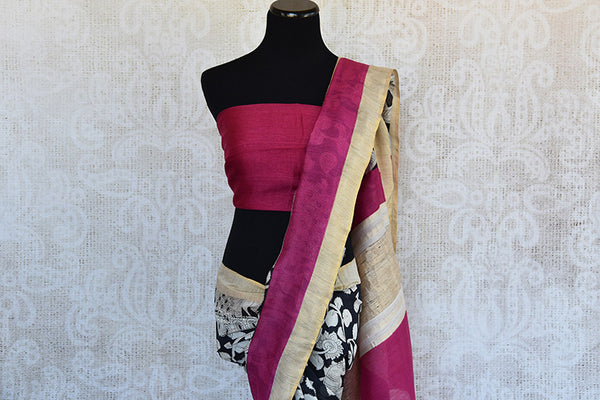 Buy this classy black linen Indian saree with white printed floral design and pink gold pallu from Pure Elegance store with pink linen blouse. Great for parties-Pallu and Border