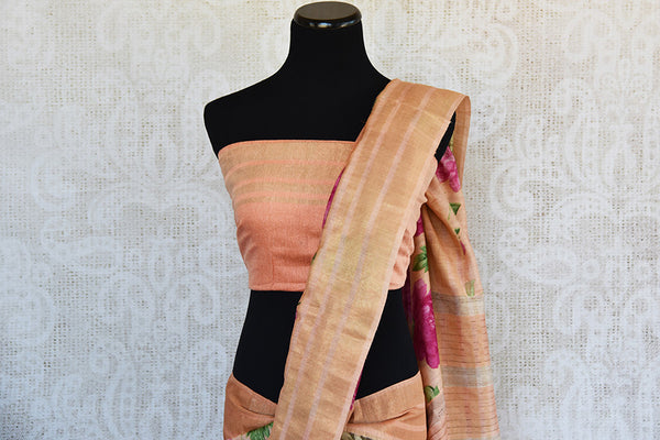 Buy this ravishing peach linen Indian saree with printed floral design and peach gold border from Pure Elegance online with peach linen blouse. Great for parties-Pallu and Border